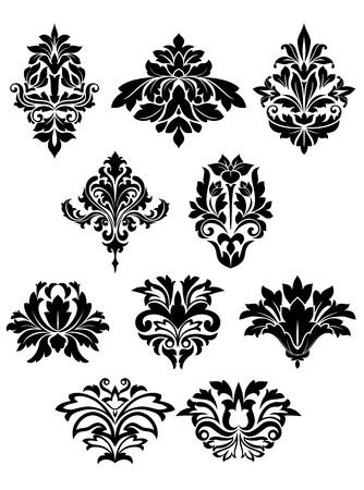Black floral design elements in damask style with silhouettes of bold curly flowers suited for pattern, greeting card or invitation design
