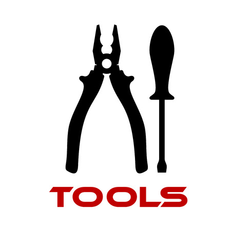 plier: Black silhouettes of pliers and screwdriver tools isolated on white background with red text