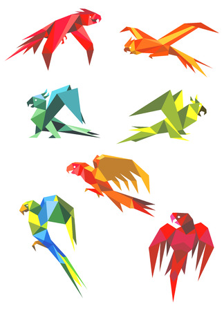 Colored origami parrot birds in flight with open beaks and long tails isolated on white background for icon or emblem design