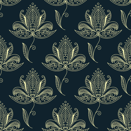 dainty: Dainty yellow flowers in persian style seamless pattern with swirls, waves and dots on dark green background suited for oriental interior design