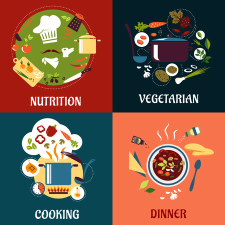 cooking utensils: Cooking healthy food flat concept with cuisine icons Illustration