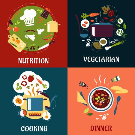 Gesund Kochen Konzept mit Flach Küche Symbole
