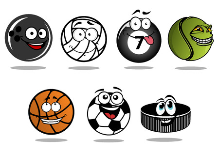 Funny cartoon ice hockey puck and sporting balls characters showing classic equipments for volleyball, football or soccer, basketball, ice hockey, bowling, billiards and tennis with happy smiling faces