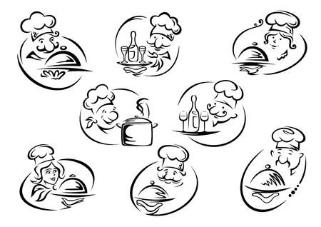 cartoon dinner: Female and male chefs in toques holding trays with dishes, pan, bottles and glasses in doodle sketch style for restaurant or cafe icon and emblems design
