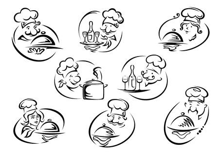 Weibliche und männliche Köche Hauben hält Tabletts mit Geschirr, Pfanne, Flaschen und Gläser in doodle Skizze Stil für Restaurant oder Café-Symbol und Embleme Design