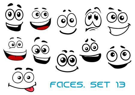 gestos de la cara: Caras emocionales de dibujos animados lindo con dientes, t�mido, bromas y sonrisas tristes aislados sobre fondo blanco para c�mics o dise�o avatar Vectores