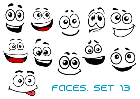 Cute cartoon emotional faces with toothy, shy, teasing and sad smiles isolated on white background for comics or avatar design