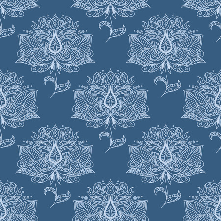 ornately: Indian traditional paisley flourish seamless pattern of flowers with white outline petals ornately on pale blue background for textile or wallpaper design Illustration