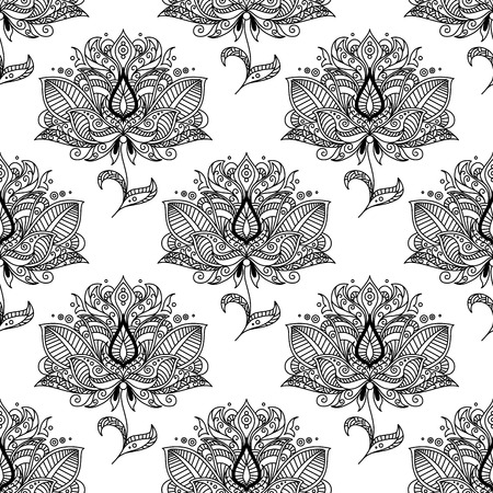 embellishment: Black and white indian stylized floral seamless pattern background decorated with ethnic paisley ornaments, drops and swirls suited for textile or lace embellishment design Illustration