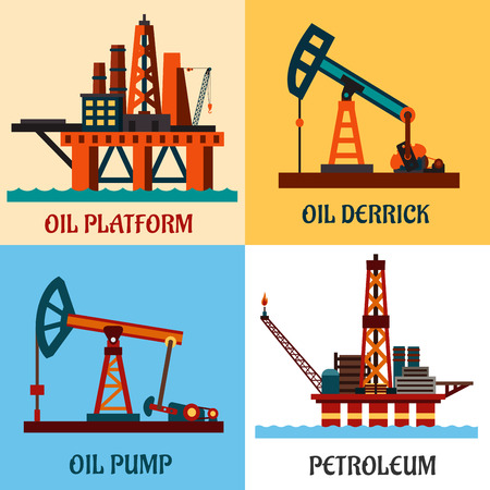 Oil production industry concept showing oil platforms in the ocean and oil pump jacks with texts Oil Platform, Oil Derrick, Petroleum and Oil Pump. Flat style