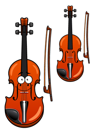 Smiling classic wooden violin cartoon character with bow isolated on white background for musical design