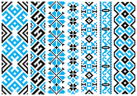 embroidery on fabric: Embroidery seamless pattern with blue and black ethnic geometric ornaments for fabric border or needlework template design