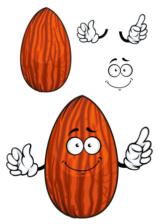 Funny cartoon almond nut character with brown dried seed coat with separated elements for vegetarian and healthy nutrition design Vectores