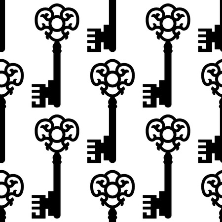 passkey: Seamless pattern with vintage skeleton keys silhouettes for textile or background design Illustration