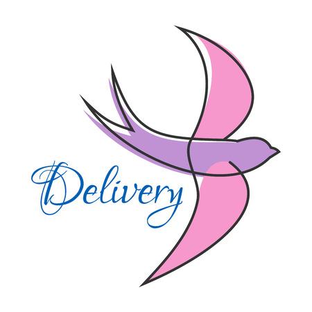 puntig: Gestileerde pictogram of embleem beeltenis lila zwaluw in de vlucht met gestroomlijnd lichaam, lange puntige vleugels en gevorkte staart op een witte achtergrond Stock Illustratie