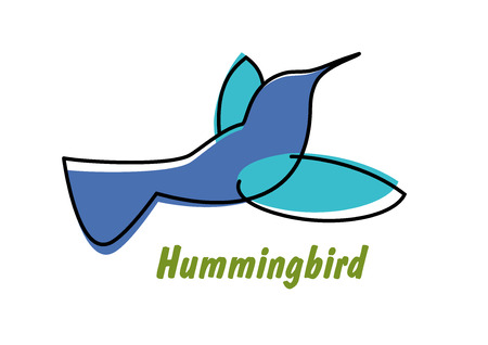 Contoured Flowing Blue Hummingbird In Flight Symbol Or Icon With