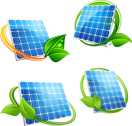 Alternative energy solar panel icons in green and orange frames with fresh leaves in cartoon style for environment or ecology concept design Vettoriali