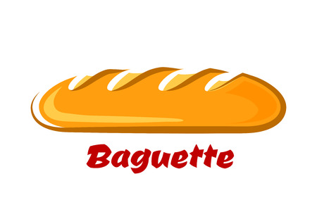 Fresh baked traditional french baguette with crunchy golden crust in cartoon style on white background for bakery logo or food market design
