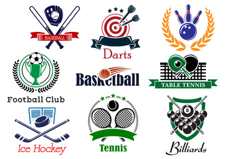 Competition sporting icon and emblems based on heraldic elements with football or soccer, ice hockey, darts, basketball, billiards, tennis, bowling, baseball, table tennis, wreath and trophy cup