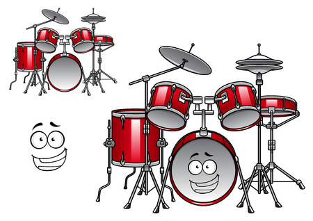 drum set: Cartoon red drum set character with shiny cymbals and happy smiling face suitable for musical design