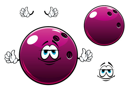 smile ball: Cartoon glossy violet bowling ball with finger holes on one side suitable for sport ot leisure design design Illustration