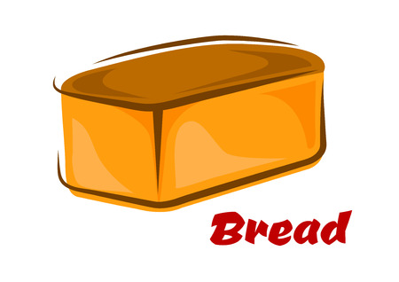 crust: Fresh cartoon loaf white wheat bread with baked brown crust isolated on white background Illustration