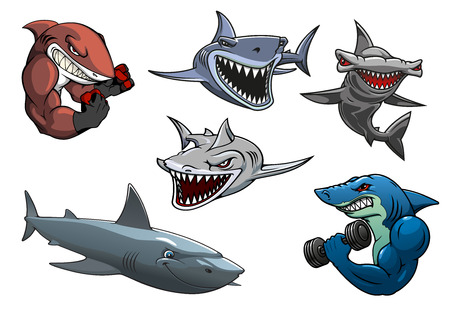Cartoon angry dangerous sharks characters including sporting sharks, hunting grey, white and hammerhead sharks isolated on white background