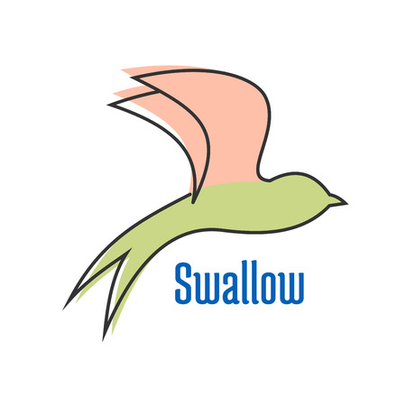 forked tail: Flying swallow bird profile abstract silhouette in green and pink pastel colors isolated on white background with blue text Swallow