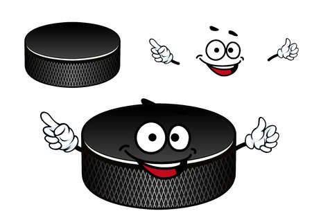 at the edge of: Black ice hockey puck cartoon character with recesses on the vertical edge suited for sporting mascot or team emblem design