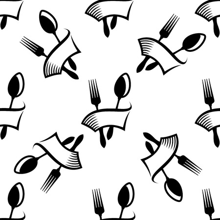 wrapped around: Kitchen cutlery seamless pattern with repeated motif of ribbon banner wrapped around fork and spoon on white background for menu or recipe book design