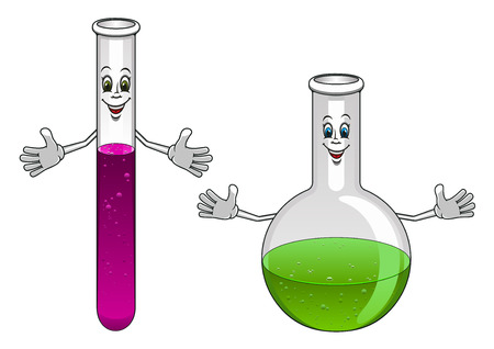 green chemistry: Happy glass test tube and flask cartoon characters showing laboratory glassware for chemistry or science design