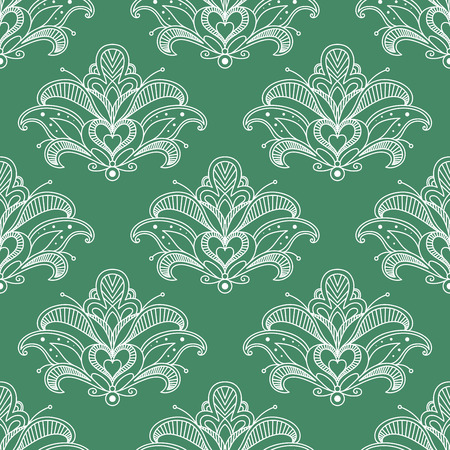 lush: Lush outline white paisley flowers seamless pattern with heart shape stamen on green background for interior or textile design Illustration