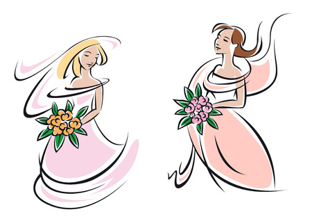 gowns: Happy young brides girls in elegant pink wedding gowns with bridal bouquets in hands in outline sketch style for wedding and marriage design Illustration