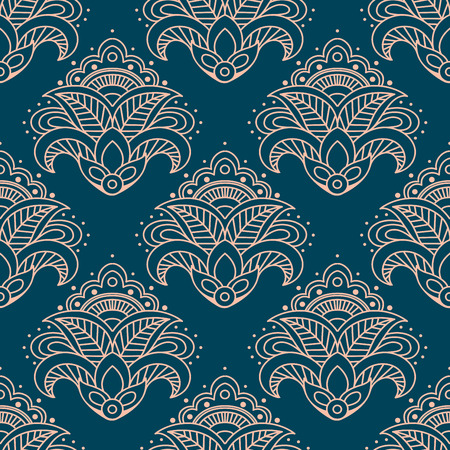sepal: Paisley bell shaped pink flowers seamless pattern with curved elements on teal background for interior design