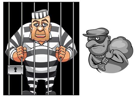 gefangene: Cartoon Gefangener im Gefängnis hinter Gittern in gestreiften Uniform und Räuber in Maske mit Sack für Verbrechen und Strafe Konzeption