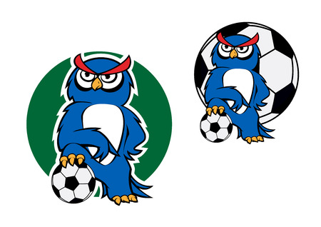 standing on one leg: Cartoon blue owl standing with one leg on the soccer ball with a football ball on the background for sporting mascot or character design Illustration