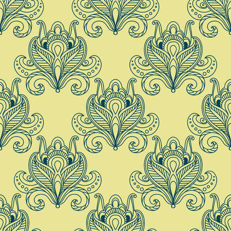 dense: Vintage flourish seamless pattern in persian style with outline blue dense flower buds decorated with ethnic paisley ornaments on yellow background