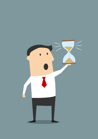 sands of time: Cartoon businessman looking at hourglass at the end of countdown and worrying about deadline, for time management or deadline concept design. Flat style Illustration