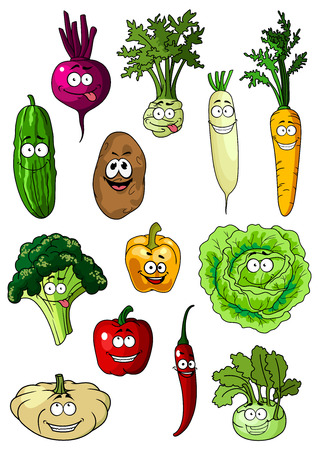 zanahoria caricatura: Zanahoria feliz, pepino, patata, col, pimiento, chile, brócoli, remolacha, pattypan, coles, personajes de dibujos animados de rábano para el diseño de concepto de nutrición vegetariana o saludable