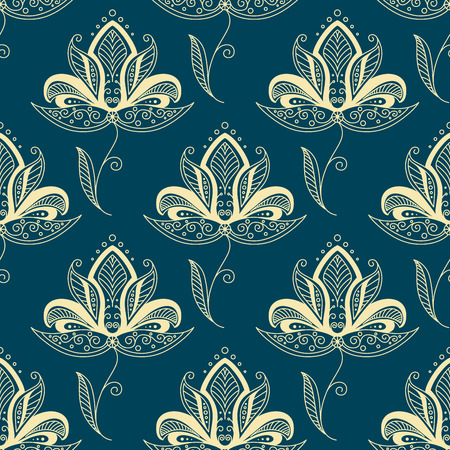 dainty: Vintage traditional paisley floral seamless pattern with beige flowers  decorated with oriental ethnic ornament on teal background for textile or interior design