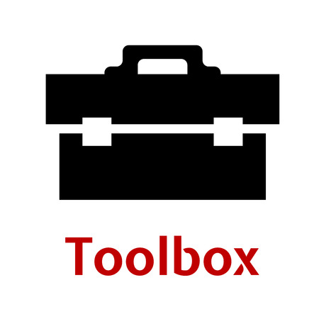 toolbox: Toolbox black icon silhouette as close box with tools isolated on white background