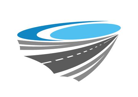 Road or highway color icon near blue lake for transportation, travel and navigation design Illustration