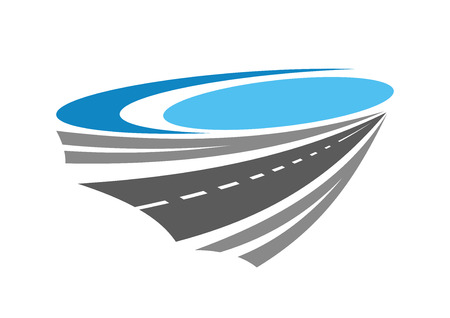 Road or highway color icon near blue lake for transportation, travel and navigation design Vettoriali
