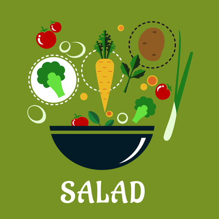 condiments: Cooking salad concept in flat style showing a deep bowl with fresh whole and sliced vegetables including potato, cherry tomatoes, green onion, broccoli, parsley and condiments on pale green background Illustration