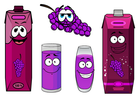 grape juice: Cute smiling grape juice packs cartoon characters depicting bright violet cardboard containers with screw cups, glasses with grape juice and bunch of red violet grapes for food design