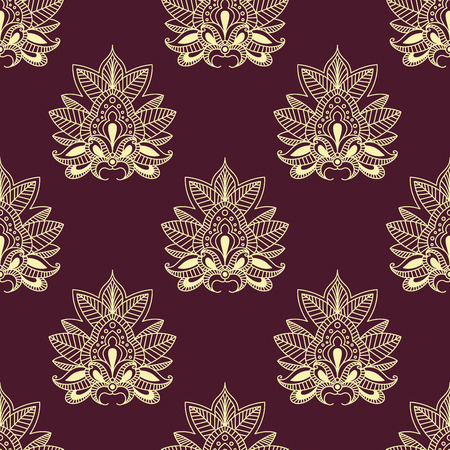 burgundy background: Paisley flourish seamless pattern on burgundy background with abstract beige flowers