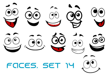joy: Smiling funny faces in cartoon comic style showing happiness, joyful and cheerful emotional expressions suitable for humor caricature or character design Illustration