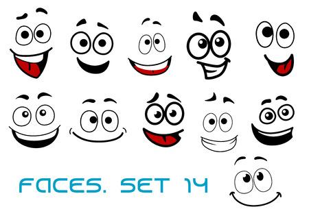 volti: Sorridente facce divertenti in stile cartoon comico mostra felicit�, espressioni emotive gioiosi e allegri adatti caricatura umorismo o character design