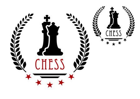 rey: Emblema del juego de ajedrez con siluetas negras de rey y reina enmarcado corona de laurel con las estrellas y Ajedrez subtítulo