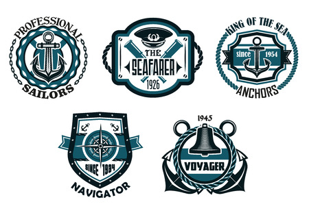 circular chain: Retro nautical emblems or badges in blue colors with anchors, compass, captain cap, ancient spyglasses, rope frames, chains, life buoy and shield